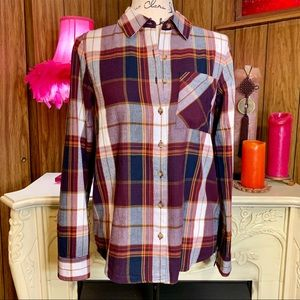 Girl Krazy Lightweight Button Down Flannel Shirt